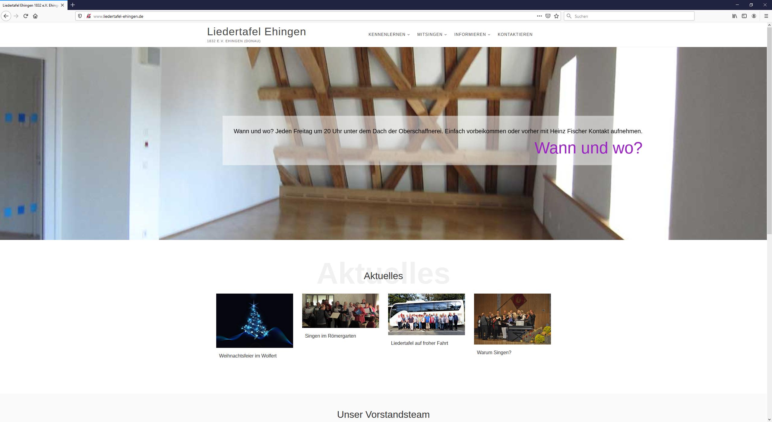 Webseite Liedertafel Ehingen